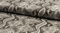 Luxury Realistic Leather Snakeskin Fabric Material - GREY